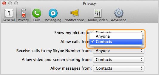Pannello Privacy con l'opzione Contatti selezionata nella lista accanto a Permetti chiamate da