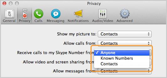 Panel Privacidad con la opción Cualquiera seleccionada en la lista que está junto a Recibir llamadas a mi número de Skype de.