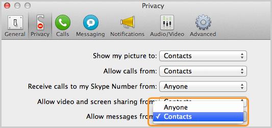 Pannello Privacy con l'opzione Contatti selezionata nella lista accanto a Consenti messaggi da