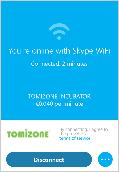 "The Skype WiFi window with the connection duration and a price per minute displayed above the ""Disconnect"" button to be selected to end the session."