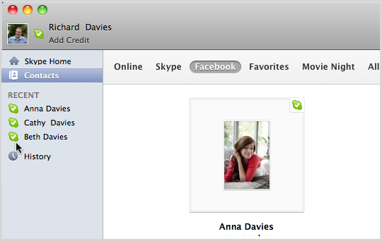 A Facebook contact displayed in the Skype's Facebook contact list.