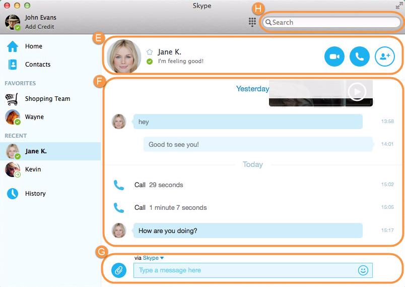 Janela principal do Skype