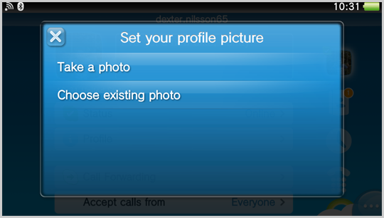 Take a photo and Choose existing photo options displayed in the Set your profile picture window.