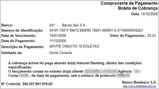 Justificatif de paiement via une banque en ligne