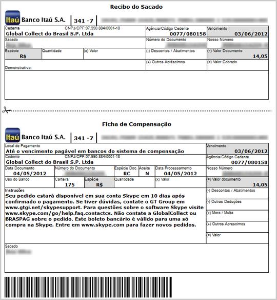 Bulletin de paiement Boleto.