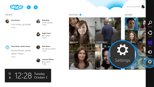 The Settings charm selected from among the charms on the right of the Skype Home screen.