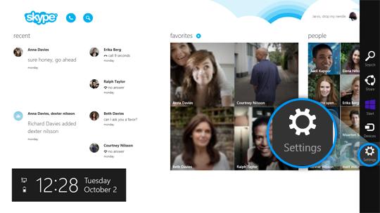 Botão Configurações (Settings) selecionado entre os botões à direita da tela da Home do Skype.