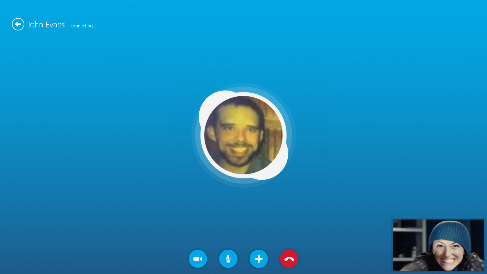 The Skype video call screen.
