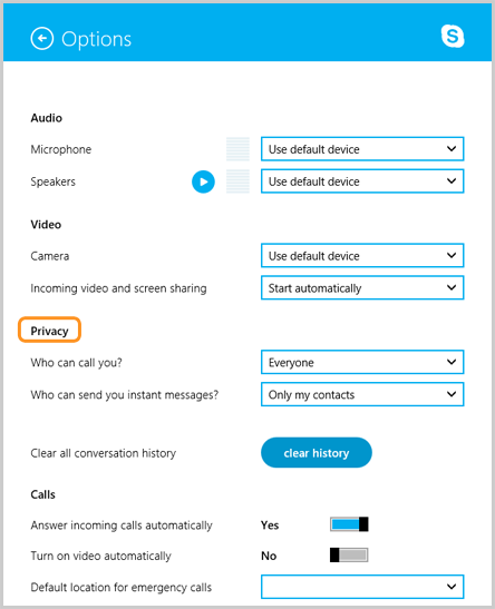 Privacy section selected under Options, where you can change your settings to control who can contact you on Skype.