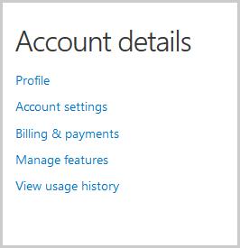 Finestra Dati account con le opzioni da selezionare per visualizzare e modificare i dati del tuo account