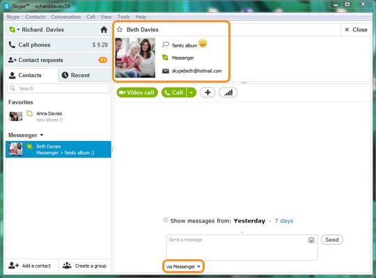 Contato do Messenger exibido na lista de contatos do Skype.