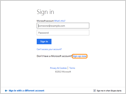 The Sign up now for your Microsoft account screen.