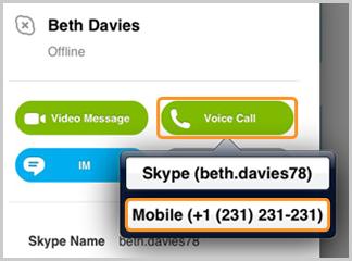 Número de teléfono móvil seleccionado después de tocar el botón Llamada