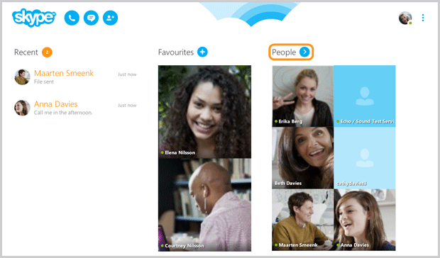 People selected in the Skype main screen