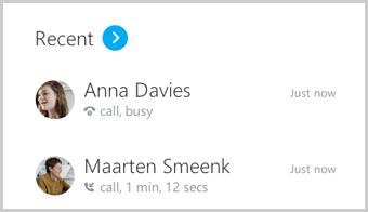 """Die Liste """"Konversationen"""" mit den letzten kontaktierten Kontakten"""