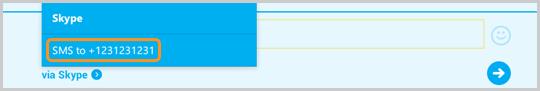Option d'envoi d'un SMS vers un numéro de téléphone en surbrillance dans Skype
