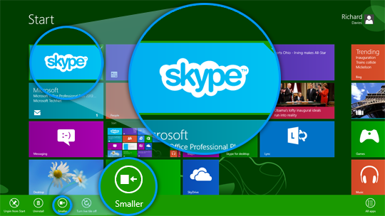 Skype tile selected in the Start screen