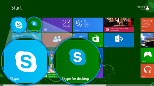 Skype for desktop and Skype for Windows 8 displayed in the Start screen