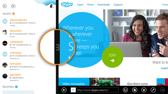 Vertical view of the Skype application displayed in the snap view of the split screen next to Internet Explorer.