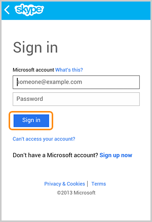 Die auf dem Bildschirm zum Anmelden mit einem Microsoft-Konto ausgewählte Option Anmelden