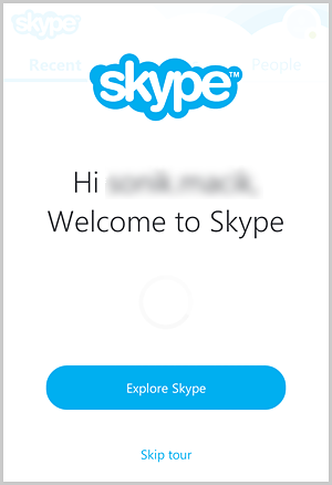 The Skype welcome screen.