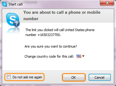 Confirm that you are sure to proceed with calling a phone number from the website using Skype Credit or Subscription.