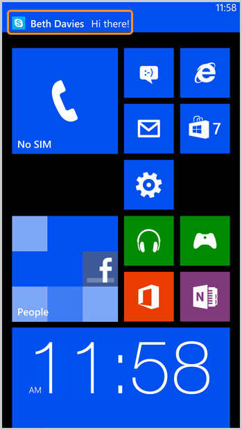 A notificação de mensagem instantânea exibida na tela do telefone.