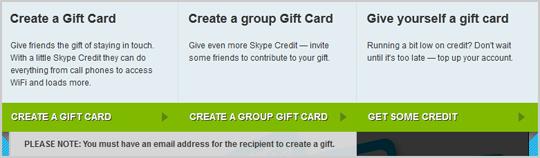 Opciones Create a Gift Card (Crear una tarjeta de regalo), Create a group Gift Card (Crear una tarjeta de regalo grupal) y Give yourself a gift card (Obsequiarte con una tarjeta de regalo) que se muestran al crear una tarjeta de regalo de Skype.