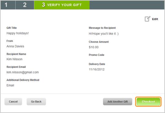 Vérifiez l'écran relatif à votre cadeau avant de procéder au paiement de votre carte cadeau Skype.