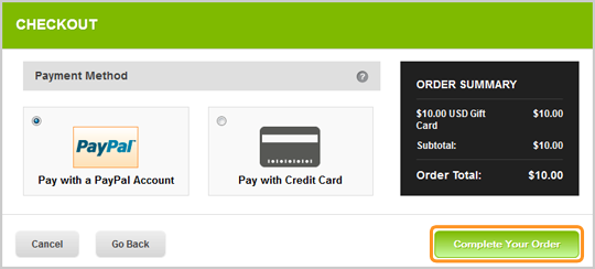 Sélectionnez le mode de paiement (PayPal ou Carte de crédit) pour terminer l'achat de votre carte cadeau Skype.