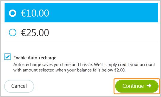 Opción Habilitar recarga automática activada y botón Continuar seleccionado.