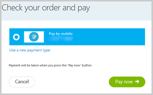 Pay by mobile as a stored payment method displayed in the Check your order and pay section of the payment flow.
