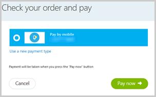 Paga a través de tu teléfono móvil como forma de pago guardada que aparece en la sección Verifica tu pedido y paga del flujo de pago.