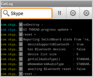 The Search box in the CatLog-Logcat Reader! application displaying the log file for Skype.