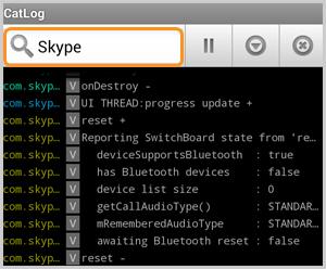 Cuadro de búsqueda de la aplicación CatLog-Logcat Reader! que muestra el archivo de registro para Skype.