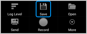 The Save icon in the Cat Log app displayed prompting saving the Skype log file to the SD card.