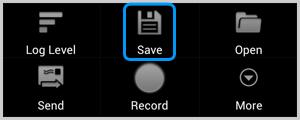 O ícone Salvar no aplicativo Cat Log salvando o arquivo de log do Skype no cartão SD.