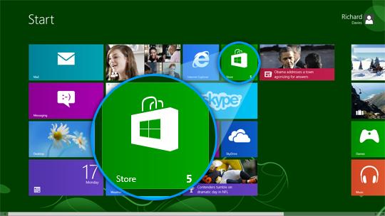 Icona Store (Negozio) nella schermata Start di Skype per Windows 8.