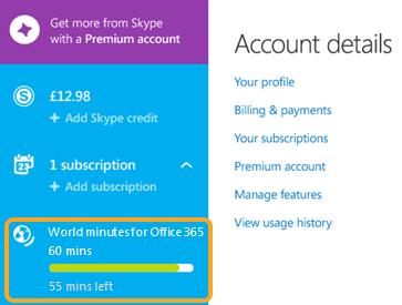 Minuti consumati e residui visualizzati nella sezione abbonamenti sotto a Minuti per le chiamate in tutto il mondo per Office 365.