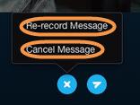 Opções Regravar Mensagem e Cancelar Mensagem exibidas depois de clicar no ícone X após a gravação de uma mensagem com vídeo.