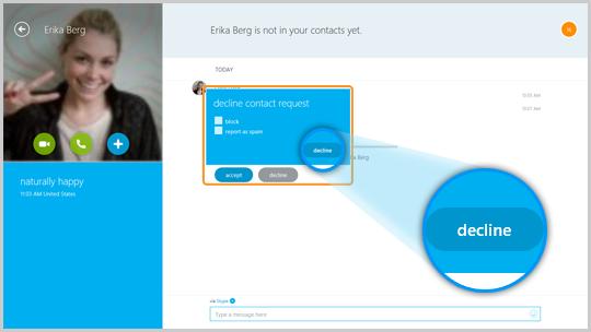 Fenêtre refuser la demande de contact avec les options bloquer, signaler comme indésirable et refuser.