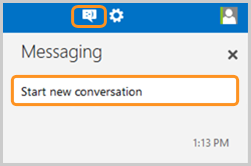 Start new conversation selected after clicking the messaging icon.