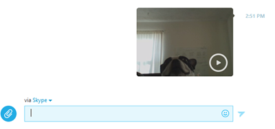 A conversation window with a sent video message.