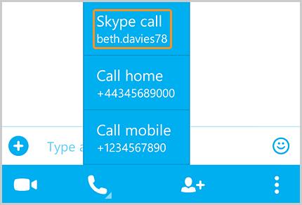 Llamada de Skype seleccionada