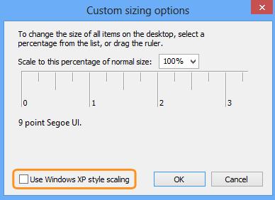 Opção Usar escala de estilos do Windows XP (Use Windows XP style scaling) selecionada na janela Opções de dimensionamento personalizado (Custom sizing options).