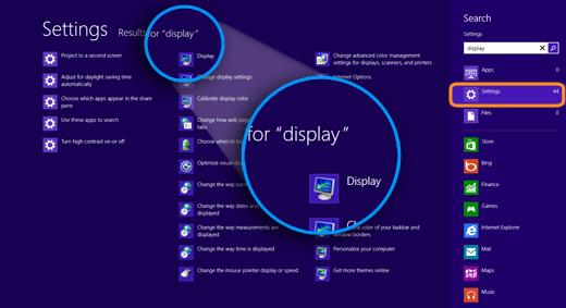 Resultados para 'vídeo' (display) exibidos e o botão Configurações (Settings) selecionado no lado direito da tela.