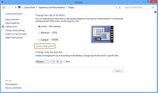 Opções de dimensionamento personalizado (Custom sizing options) selecionadas na janela Vídeo (Display).