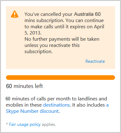 The information on the cancelled subscription displayed after confirming the cancellation. It includes the date when the subscription expires.
