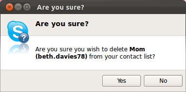 The Yes and No options to be selected to confirm removing the contact.