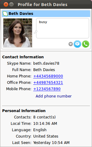 The contact's full Profile window displayed.